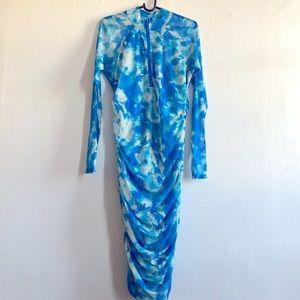 Fashion Nova Clouded Judgement Ruched Midi Dress